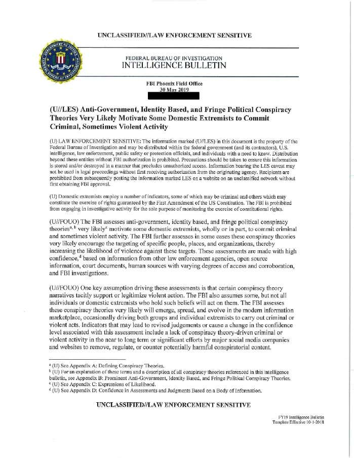 FBI Document Warns Conspiracy Theories Are A New Domestic Terrorism Threat
