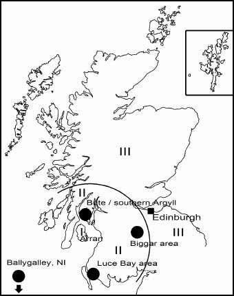 Map of Scotland showing distribution of Arran pitchstone. Skye and Soay are well within the zone